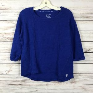 Marc New York Blue Cotton 3/4 Sleeve Shirt